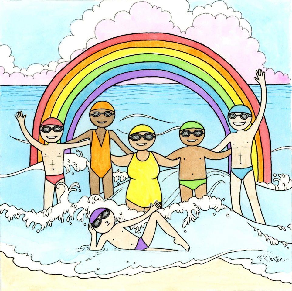 CIBBOWS/TNYA Pride Illustration - swimmers around rainbow